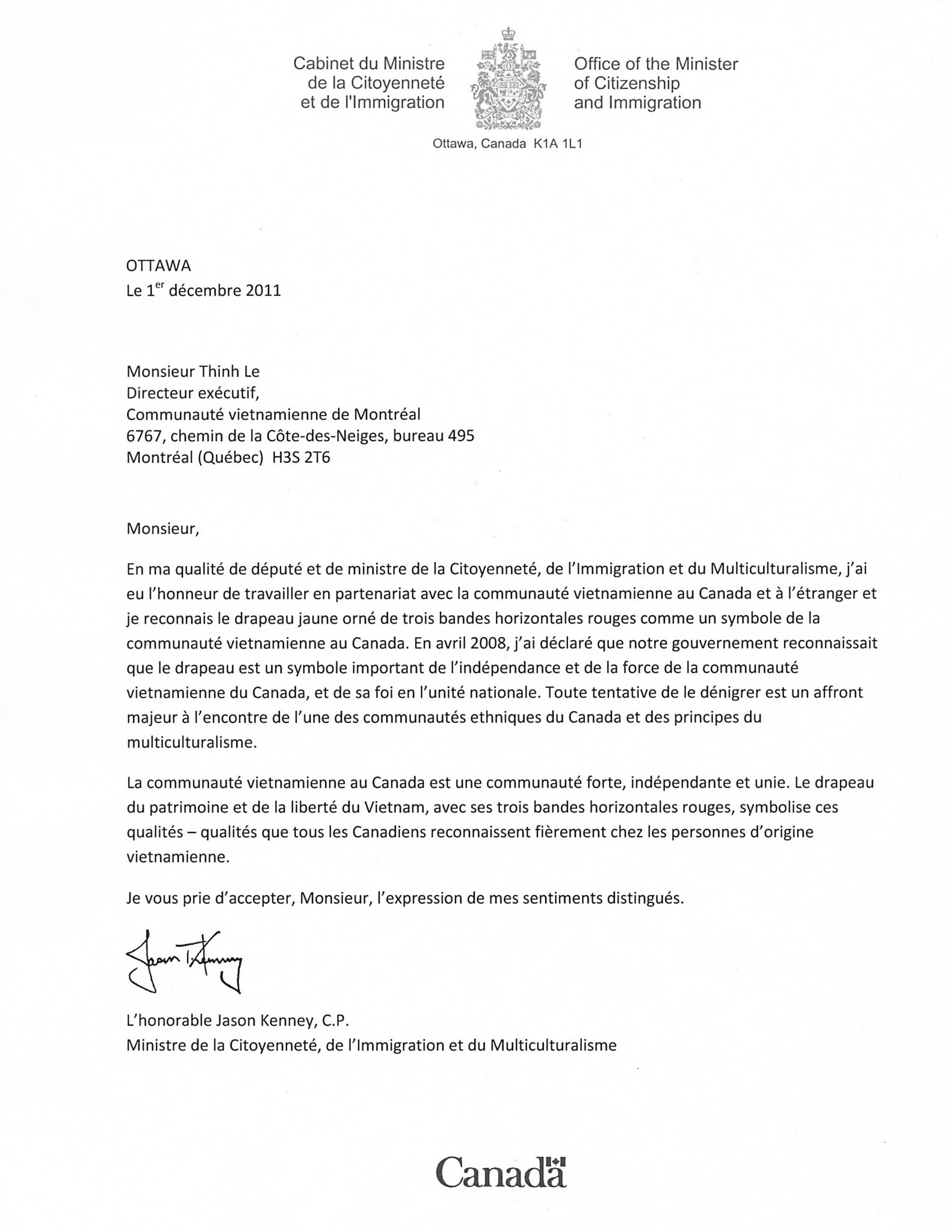 Letter of Minister Jason Kenney recognizing the Heritage and Freedom Flag